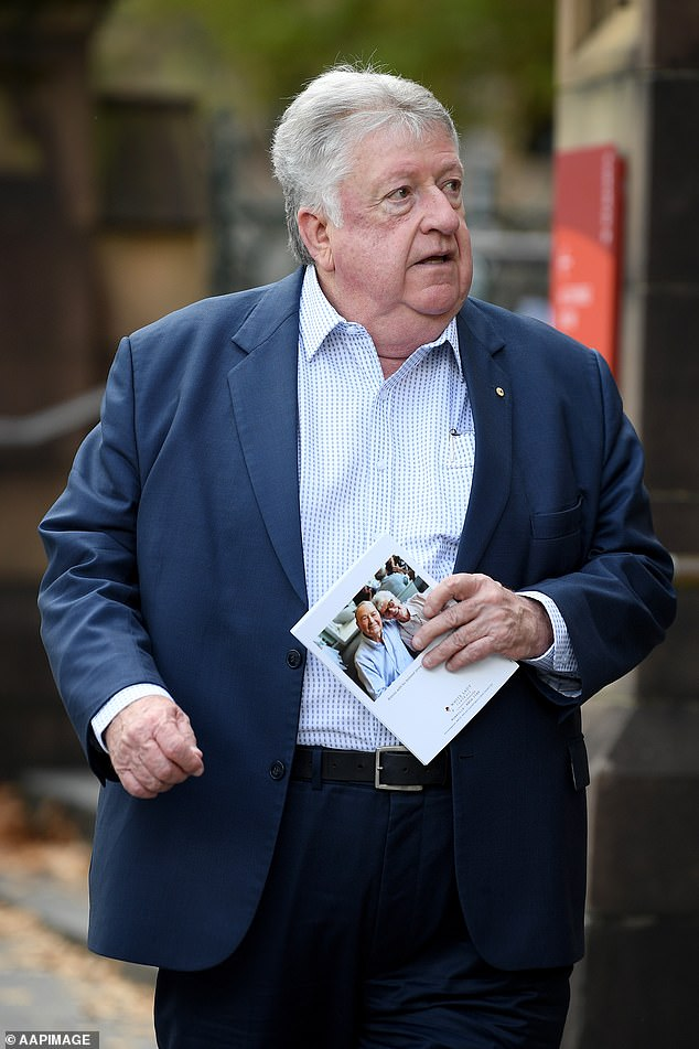 Sony Music Australia CEO Denis Handlin arrives at the Requiem Funeral Mass for John Brennan