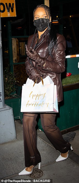 A leather blazer appears to the star's new go-to outfit as she wore a brown one Monday night