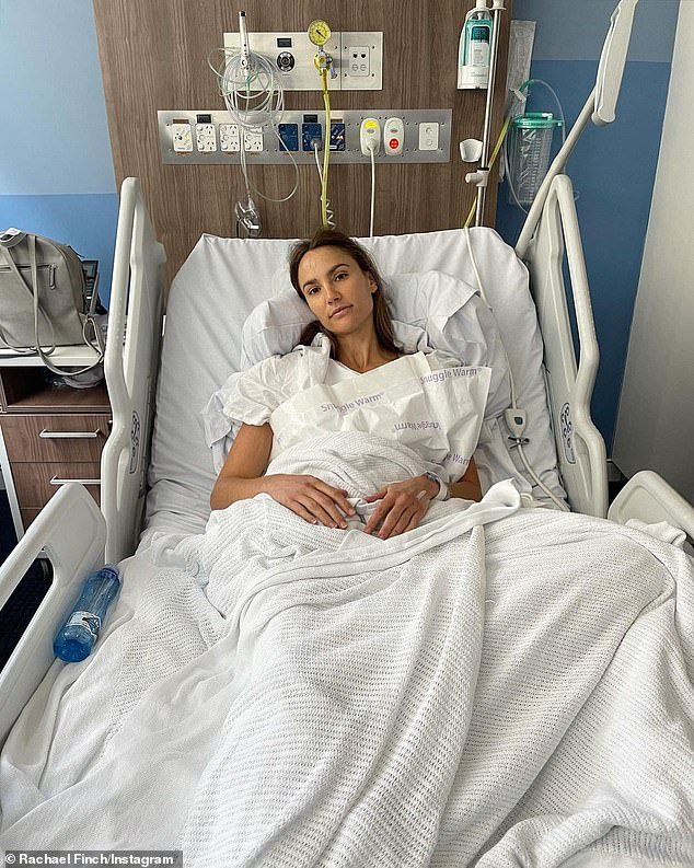 Health scare: The model and fitness influencer announced in February she had to undergo explant surgery because her left implant had ruptured