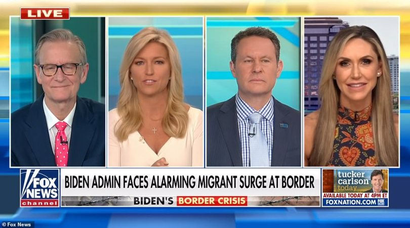Lara Trump, far eight, received a warm welcome from the Fox News hosts, Steve Doocy Ainsley Earhard and Brian Kilmeade