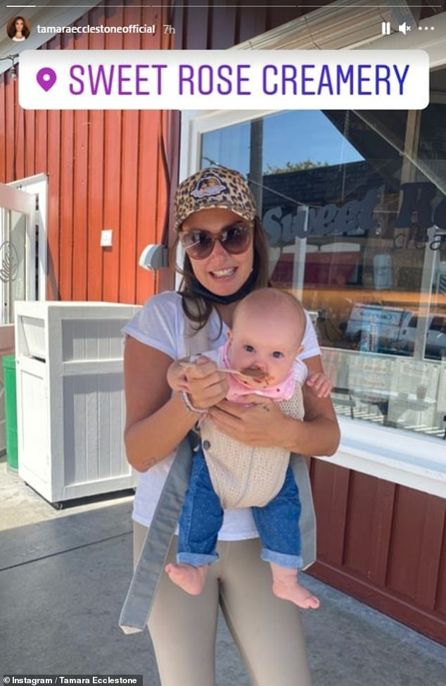 Another country? Tamara also shared an image of her baby daughter Serena on Tuesday as they paid a visit to an ice cream shop in Santa Monica