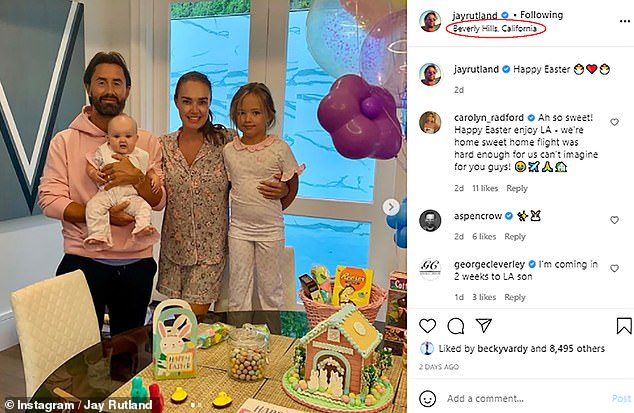 Away again? Both Tamara and Jay shared the same snap of their family celebrating Easter, with the businessman tagging their location as Beverly Hills
