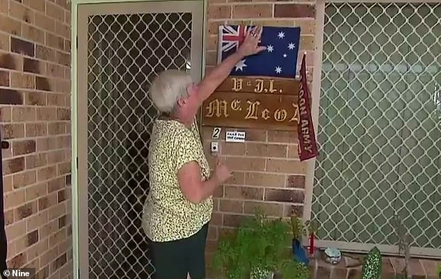 The couple's home, which they moved into in 1997, is adorned with Australian flags, which Ms McLeod saying 'people have come and gone and died for that flag'