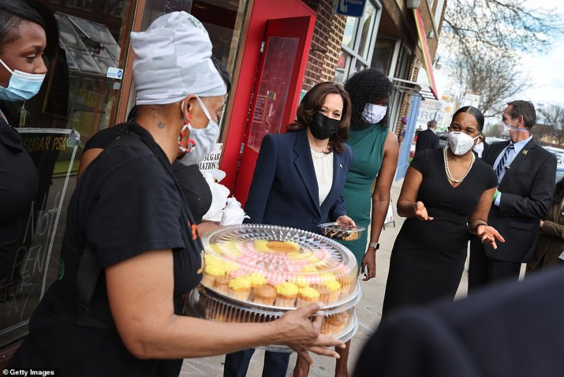 On Tuesday Harris traveled from Los Angeles to Chicago where she found time to meet bakers at the Brown Sugar Bakery in where she was presented with cakes