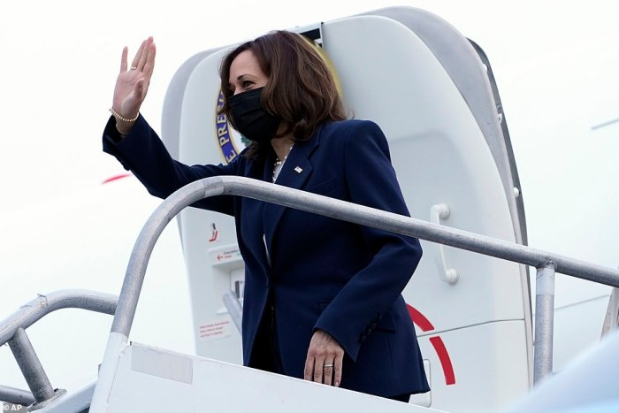 Hello, Goodbye: Vice President Harries turns and waves goodbye to Los Angeles as she boards Air Force Two for her journey to Chicago
