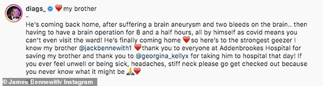 Home: The reality star, whose real name is James Bennewith, took to Instagram on Tuesday to talk about Jack's health scare and shared his delight that Jack was finally being discharged