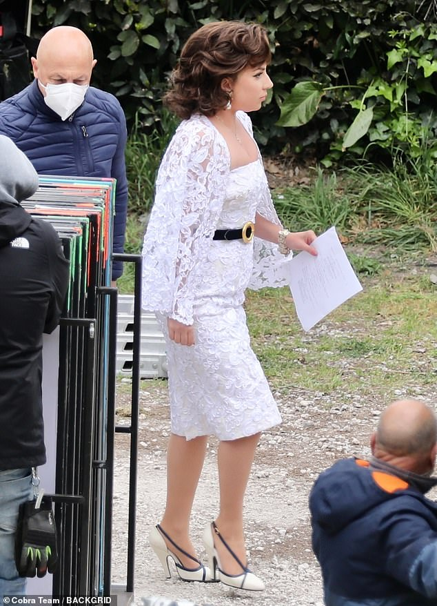 Chic: Lady Gaga looked effortlessly chic as she prepared to film scenes for House Of Gucci in Rome, Italy, on Wednesday