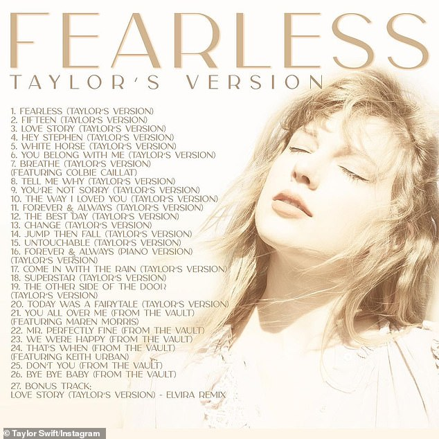 Versión de Taylor: la canción es su segunda canción 'from the vault' lanzada hasta ahora, y a principios de esta semana lanzó You All Over Me, que contó con la estrella de country Maren Morris, junto con la lista completa de canciones de Fearless (versión de Taylor).