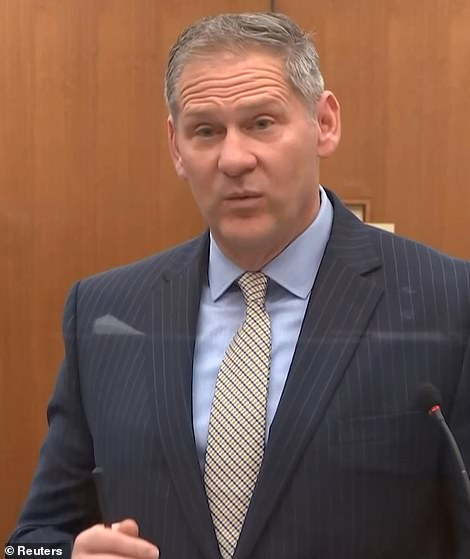 Questioned by Steve Shchleicher, pictured Wednesday,Stiger told the court that, having analyzed bodyworn camera and the city's milestone footage he saw no change of force of position in Chauvin's feet or knees for the duration. And he pinpointed moments where the officer appeared to be inflicting increased pain