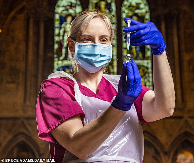 Officials are confident there are sufficient supplies of the Pfizer and Moderna vaccines for the ten million under-30s who have now been advised not to have the Oxford/AstraZeneca one. Pictured: Practice Nurse Gemma Reid gives pensioners a Covid-19 vaccine at Lichfield Cathedral, Staffs