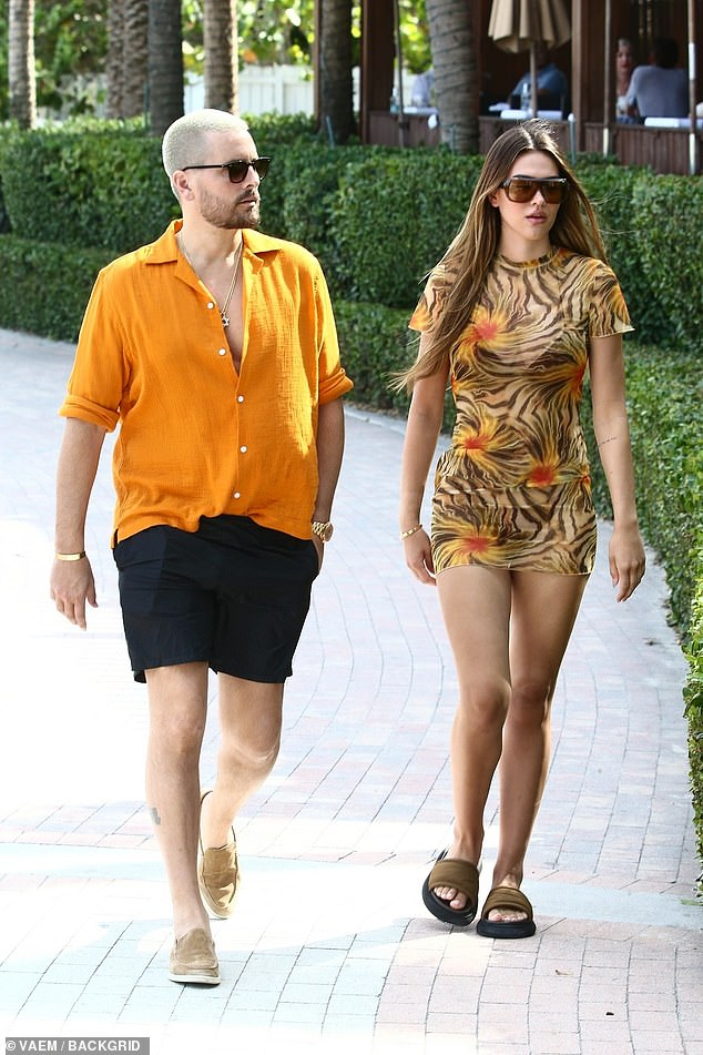 The couple that dresses alike:Amelia Hamlin was so in tune with her reality star boyfriend, Scott Disick, that the couple were spotted in color coordinated outfits on Wednesday in Miami