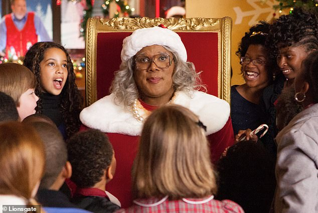 Close to home:Perry - who has played the feisty grandmother through the years - described the character as a 'PG version' of his mother and his aunt. He's seen in A Madea Christmas above