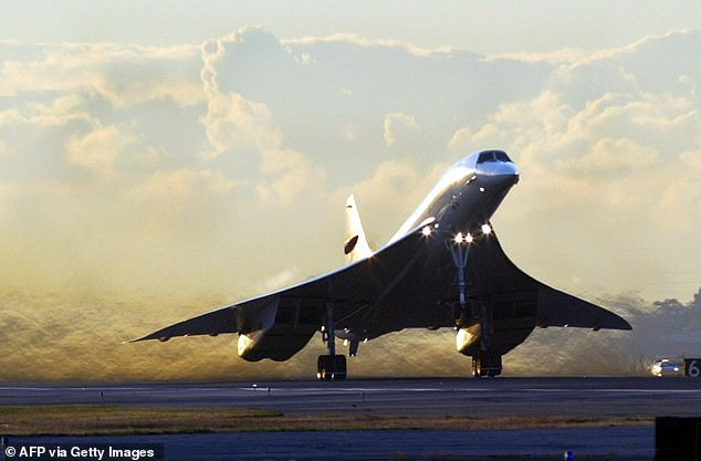 Biden pitched supersonic planes that would fly 15 times the speed of the Concorde (pictured), which used to get between New York and London or Paris in 3.5 hours
