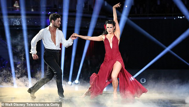 Dance champion: Val Chmerkovskiy and Rumer are shown in a still from season 20 of Dancing With The Stars that they won together