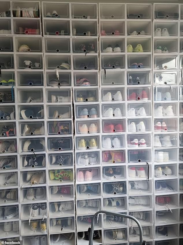 A photo of the DIY cupboard shows at least 128 containers, almost all of them filled with one pair of Adidas sneakers