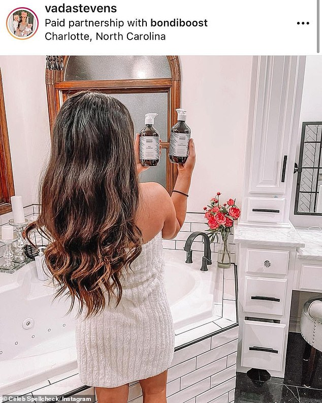 Forget something?  Celeb Spellcheck also featured a post from mummy blogger Vada Stevens holding two unopened Bondi Boost hair care bottles