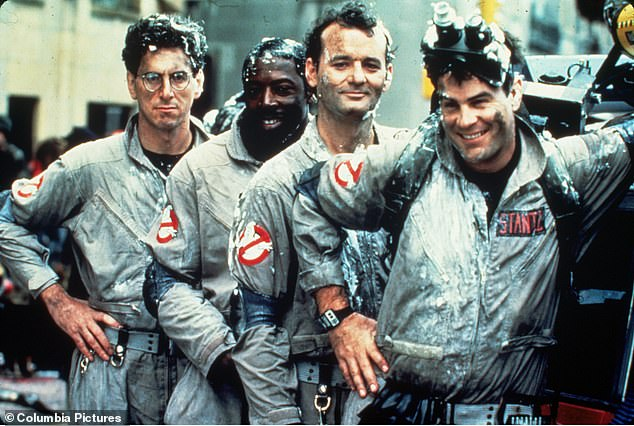 Old School: Harold Ramis, Ernie Hudson, Bill Murray, and Dan Aykroyd conducted the original, along with Sigourney Weaver, Annie Potts, and Rick Moranis;  publicity still from Ghostbusters (1984)