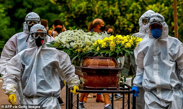 Cemetery workers  in full protective gear carry a coffin during the burial of a Covid victim in Sao Joao, Brazil
