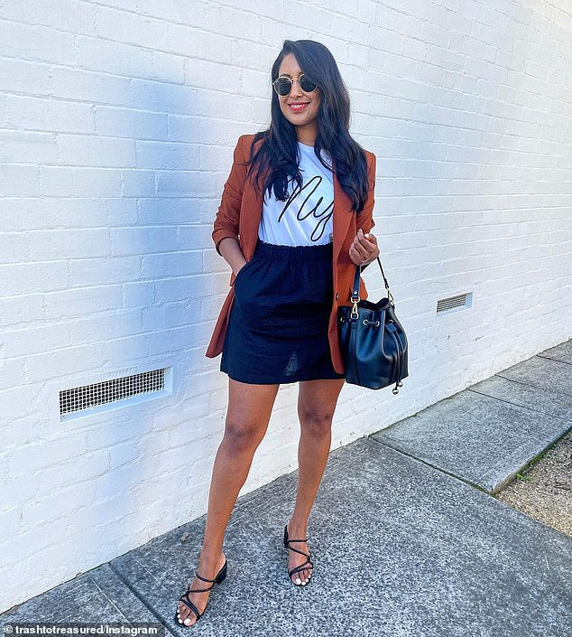 The 'Paperbag Mini Skirt' has been flying off clearance racks since Sydney fashion blogger Tina Abeysekara (pictured) wore it in a series of outfit photos on Instagram