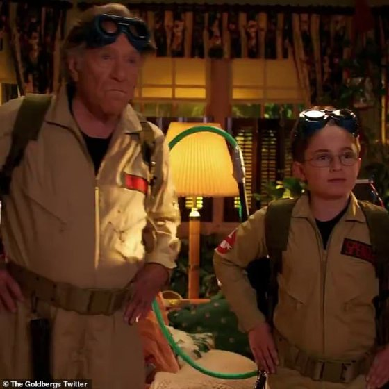 Guys from the ghost: He was also seen in a full Ghostbuster costume along with his grandson on screen, played by Sean Giambrone, while jokingly catching a phrase with the message: 'Who are you going to phone?  Ghost boys!  '