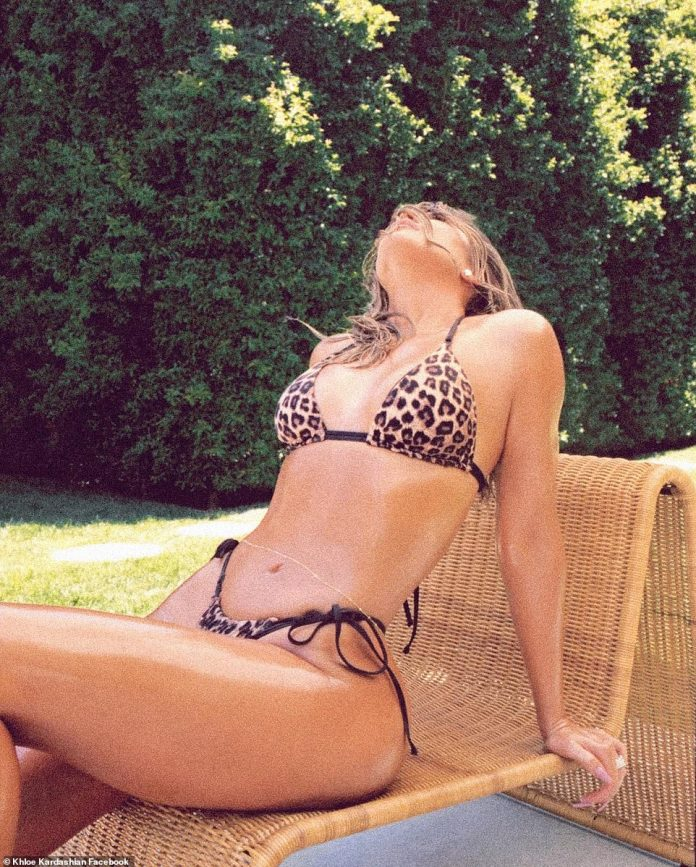 Picture perfect: The Good American founder appears unfiltered and un-airbrushed in the leaked snap - and not as flawless as she appears in her social media shots (seen here in a similar bikini in July 2020)