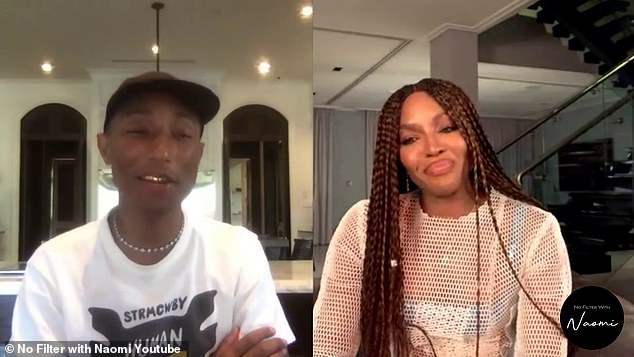 Fun fact:Pharrell, 47, recalled when he copied the term from an 'amazing' conversation he overheard with the supermodel during a virtual interview for her YouTube series No Filter