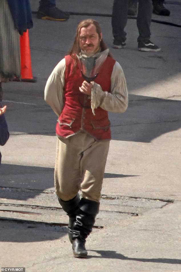 He's there!  Jude Law was first seen in the character as Captain Hook, after starting his work on the latest live-action version of Peter Pan and Wendy.