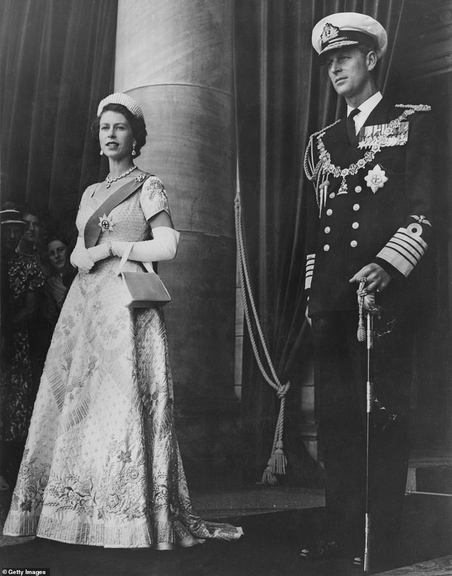 The Queen and Prince Philip leave Parliament House in Wellington after the Queen opened the New Zealand Parliament in January 1954