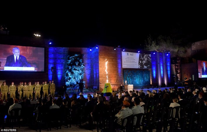 Pictured:Israeli Prime Minister Benjamin Netanyahu delivers a speech at the Holocaust Martyrs' and Heroes Remembrance Day opening ceremony in memory of the six million Jewish men, women and children murdered by the Nazis and their collaborators, at Yad Vashem Holocaust Museum in Jerusalem April 7, 2021