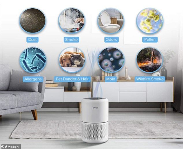 With three filters, the air purifier traps 99.97 per cent of fine particles and allergens that can affect your breathing and quality of sleep