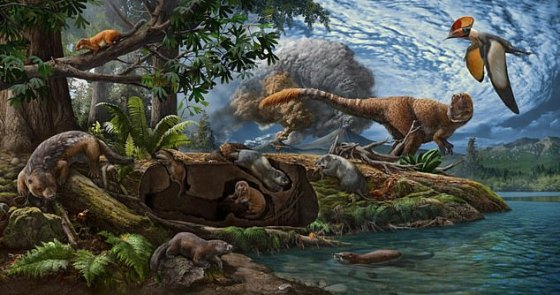 The diorama landscape illustrates the Early Cretaceous Jehol biota - a famous collection of 130 million-year-old Cretaceous fossils