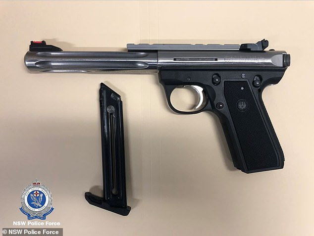 Fourteen hand guns were seized during a police raid at the couple's Cherrybrook home on Thursday