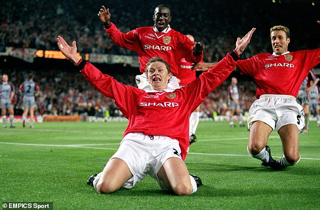 Current United boss Ole Gunnar Solskjaer, seen celebrating his Champions League final winner in 1999, is one of dozens of United heroes who feature in the film