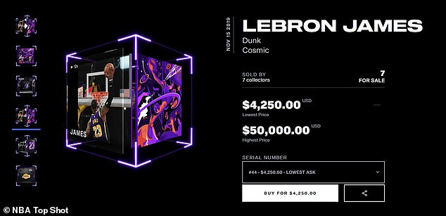 This NFT of a LeBron James highlight could fetch anywhere from $4,250 to  $50,000
