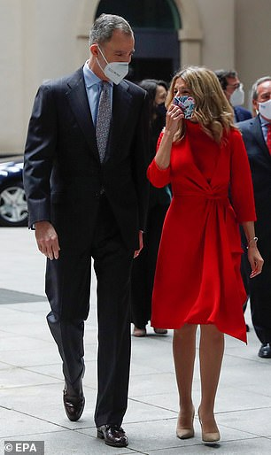 Third Deputy Prime Minister Yolanda (above) could have been mistaken for Queen Letizia, who did not appear to be at the ceremony, as she surprisingly resembled the royal while chatting with the King of Spain