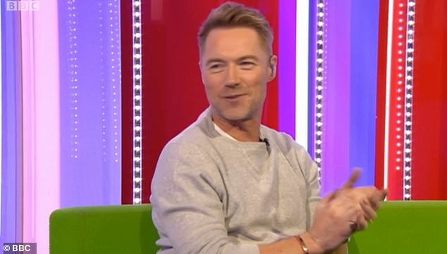 Happy days: Alex co-host Ronan Keating, 44, and the studio began to cheer on the star for her thrilling announcement