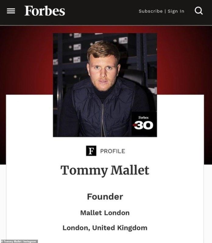 La estrella de reality shows Tommy Mallet de The Only Way Is Essex ha ingresado en una lista de Forbes de emprendedores influyentes