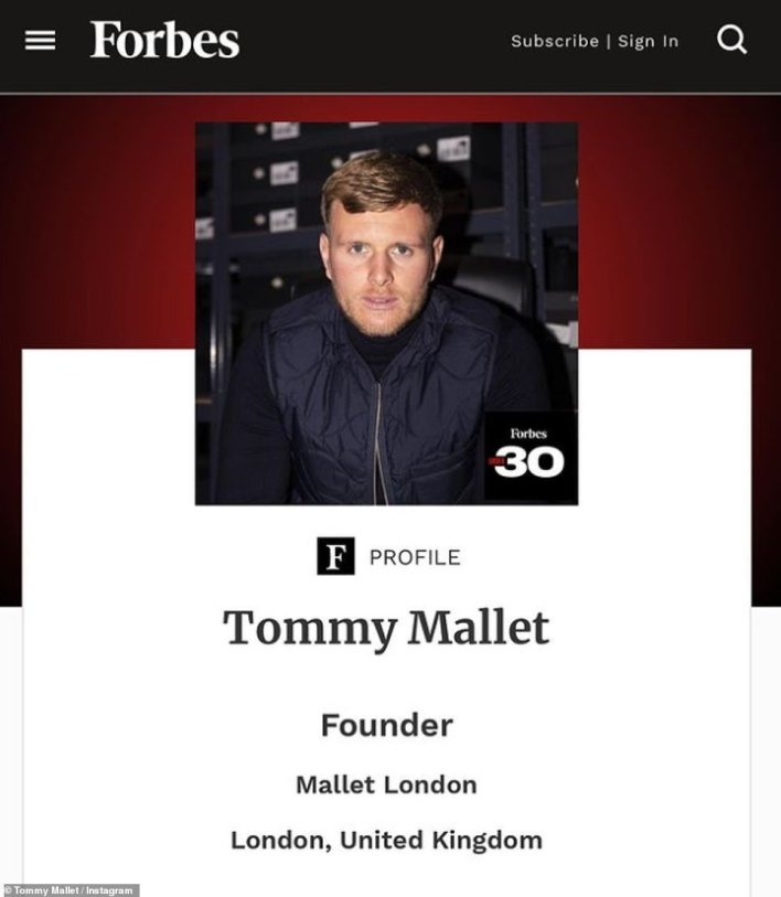 Reality TV star Tommy Mallet from The Only Way Is Essex has made it onto a Forbes list of influential entrepreneurs