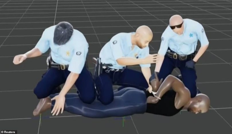 During his testimony, Dr Tobin relied on graphics and images that depicted the officers' positions on Floyd to analyze the impact the forces had on his death