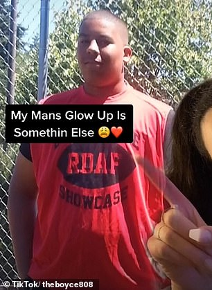Brianna, who lives in Seattle, racked up over 287,000 likes on a video revealing how her boyfriend has transformed since childhood (pictured)