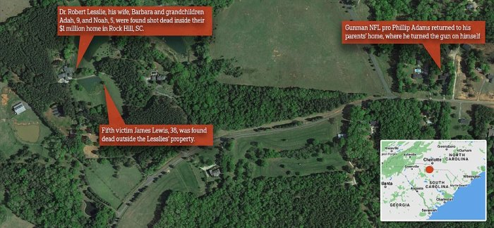 This map shows the location of Lesslies' home where Robert, Barbara and their grandchildren were found dead; their property where James Lewis was killed, and the home of Adams' parents a short drive away