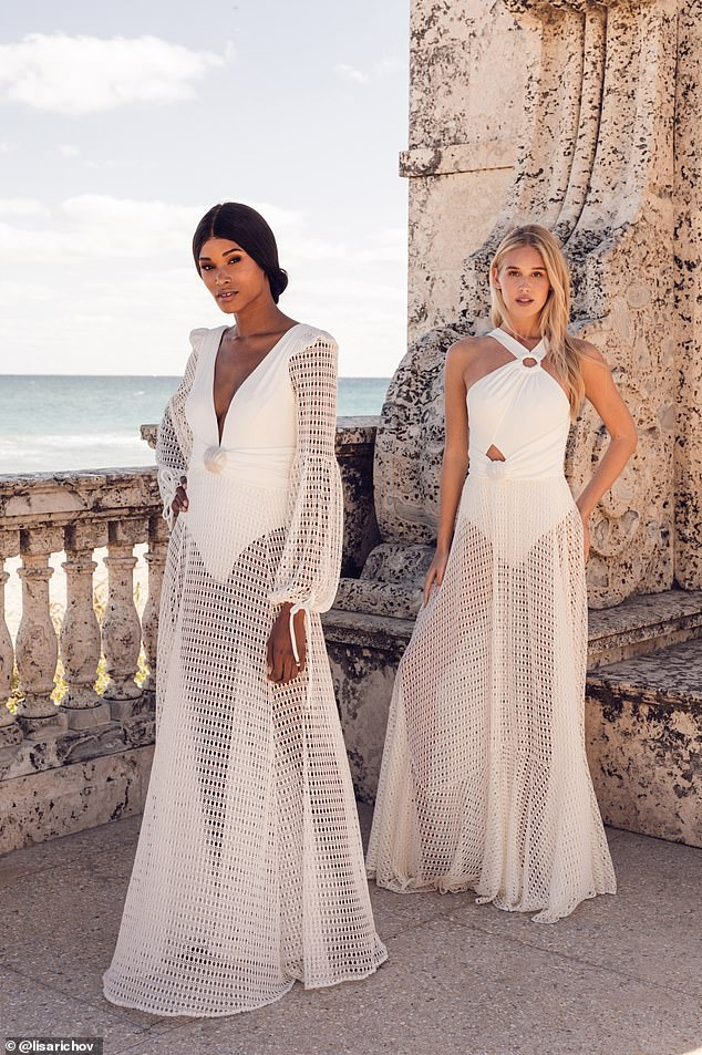 Dresses and separates are adorned with hand-sewn jute trim, delicate cotton fringe, crochet embroidery, seashell accents and sand grazing metallic mesh fabric