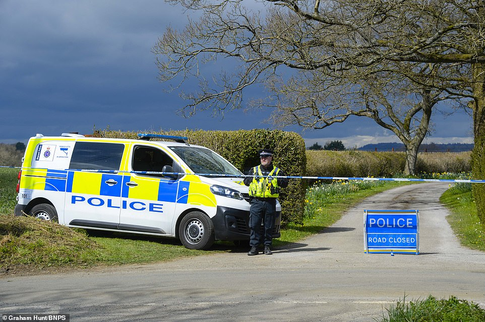 Sir Richard Lexington Sutton, 9th Baronet, was head of the Sutton family, which owns land in Dorset, Berkshire, London and Lincolnshire and Aberdeenshire. Pictured: Police had taped of the entrance to the property yesterday
