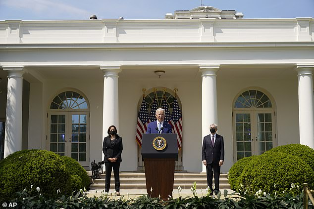 President Joe Biden was joined in the Rose Garden by Vice President Kamala Harris and Attorney General Merrick Garland in his announcement on new gun control measures