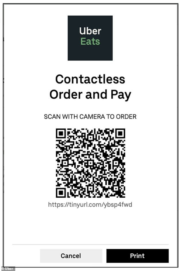 Users will find the Dine-In tool in the normal Uber Eats app and will be able to access a participating restaurant's menu by scanning a QR code (pictured)