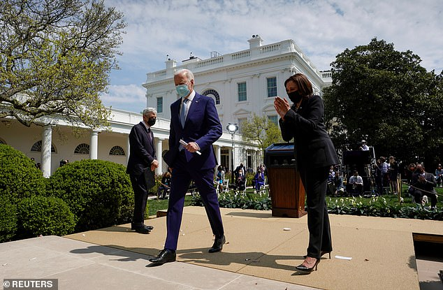 Vice President Kamala Harris applauds after President Joe Biden finishes his remarks on his new executive orders to curb gun violence