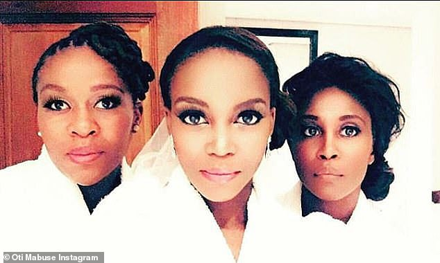Family: Otireveals in Thursday's Jonathan Ross Show: 'To be honest, we have another sister, middle sister, she was the better dancer' (Oti pictured with big sister Motsi, 39 and Phemelo)