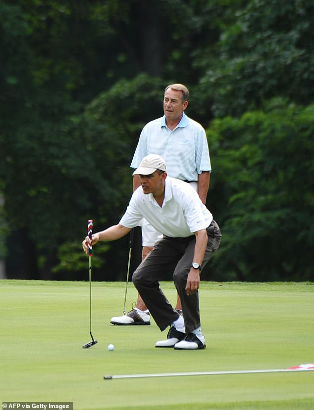 Boehner and Trump are avid golfers. Here the former speaker hits the links with then-President Barack Obama in 2011