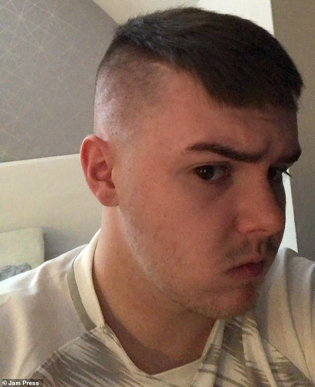 College student Andrew Riley (above), 20, from Glasgow, visited his local hairdresser in Bearsden on April 7 - two days after the salons were allowed to reopen across Scotland. The result left him with the 'worst haircut of his life'