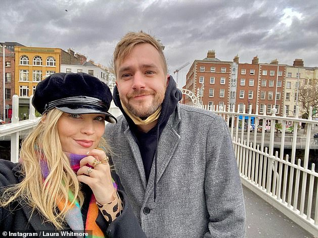 Family: Laura and husband Iain Stirling confirmed they were waiting in December, sharing their good news on Instagram, a day after it was revealed they had secretly married